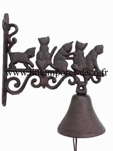 Cloche de porte en fonte 5 chats