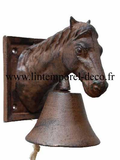 Cloche de porte en fonte cheval
