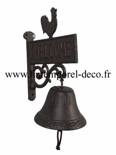 Cloche entrée de portail motif coq