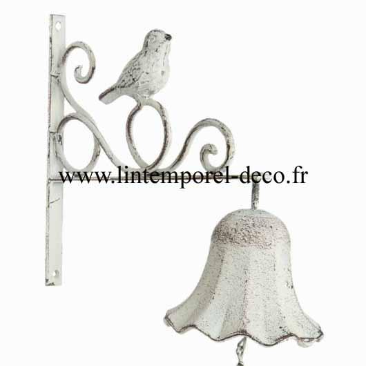 Cloche fer et fonte à chainette - Oiseau