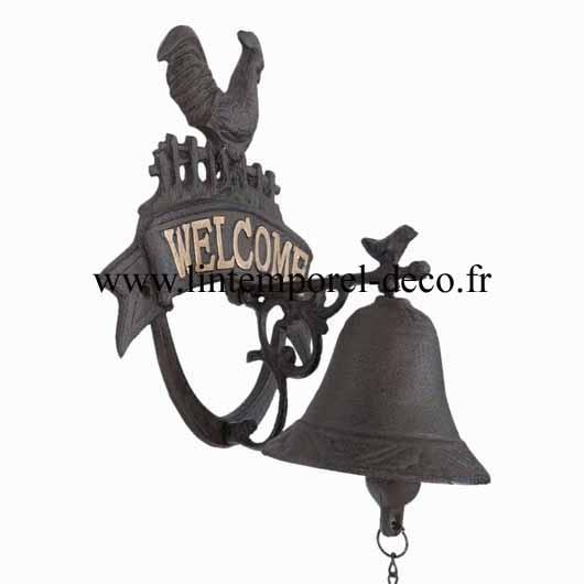 Carillon de porte entrée fonte - coq